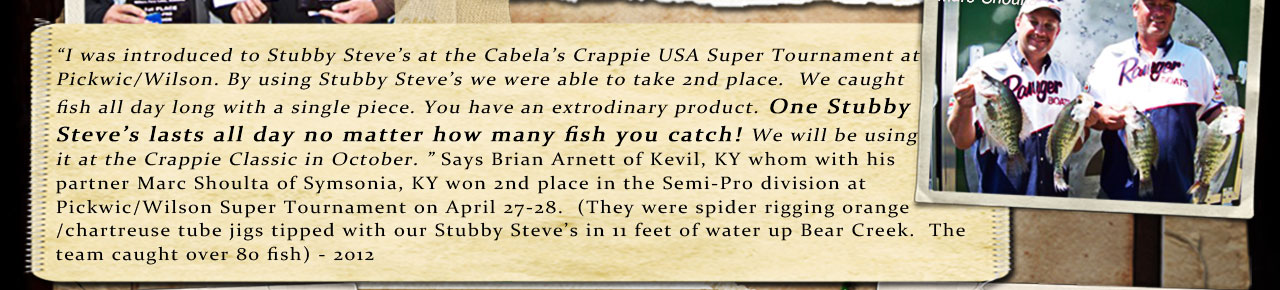 Brian Arnett and Marc Shoulta  credit using our Fish Food Pellets to help them finish in 2nd place in the Crappie USA Super Event on April 27, 2012....
